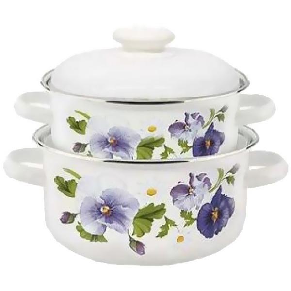 Набор посуды эмалированной 2 предмета ″Анютины глазки″ (2л, 3л) белый купить оптом и в розницу