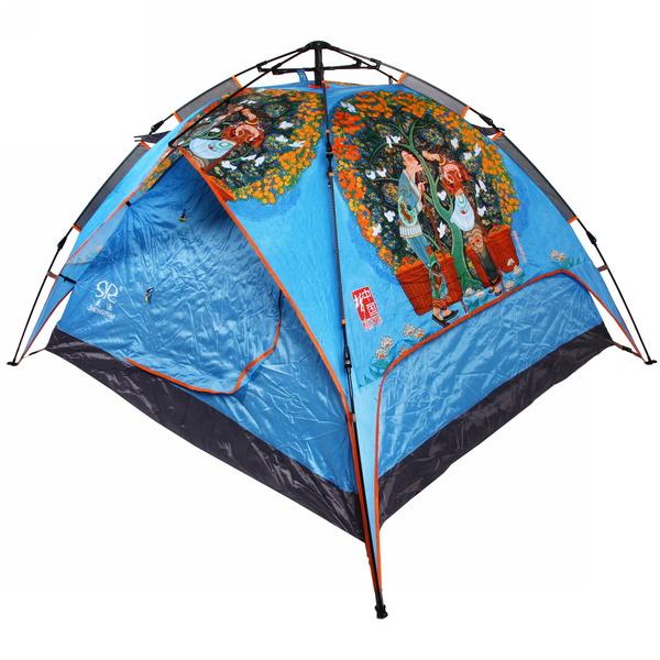 Палатка кемпинговая 3-местная 1-слойная зонтичного типа 2 в 1, цвет голубой АЗИЯ, 200*230*140 купить оптом и в розницу