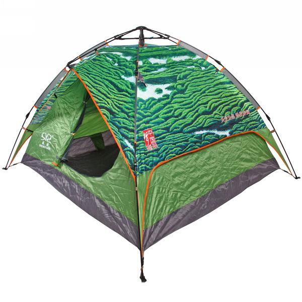 Палатка кемпинговая 3-местная 1-слойная зонтичного типа 2 в 1, цвет зеленый ПЕЙЗАЖ, 200*230*140 купить оптом и в розницу
