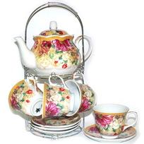 Набор чайный 13 предметов ″Хризантема″ (6 чашек, 6 блюдец, чайник) купить оптом и в розницу