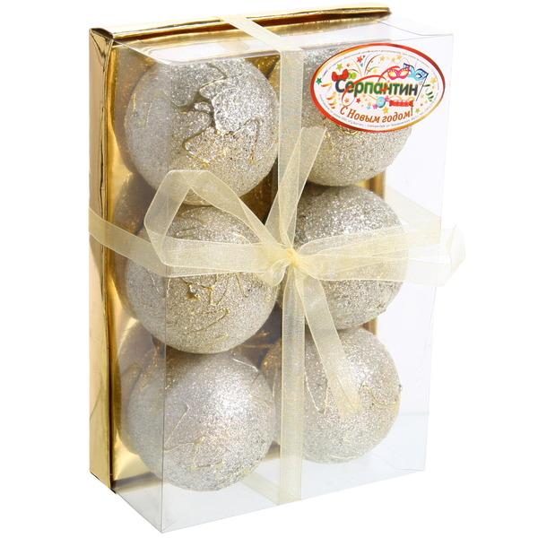Новогодние шары ″Серебряная ёлочка″ 6 см (набор 6шт.) купить оптом и в розницу