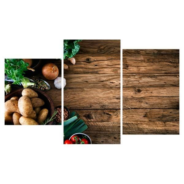 Картина модульная триптих 55*96 см, овощи и пряные травы купить оптом и в розницу