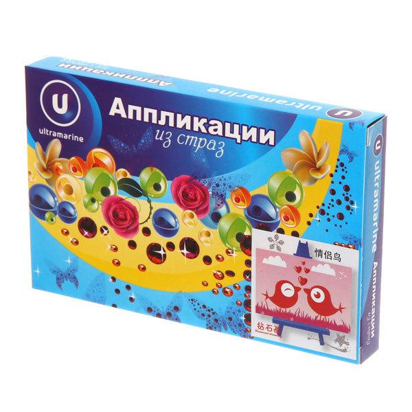 Аппликация из страз 10*15см ″Птички″ Ультрамарин купить оптом и в розницу