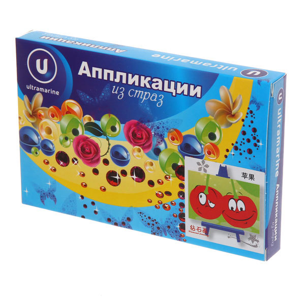 Аппликация из страз 10*15см ″Вишенки″ М104 Ультрамарин купить оптом и в розницу