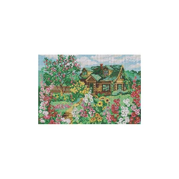Набор для вышивания бисером 28*40см Мальвы в саду А-1336 купить оптом и в розницу