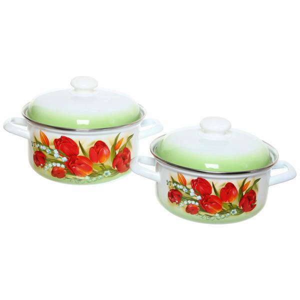 Набор посуды эмалированной 2 предмета ″Ласковый май″ (2л, 3л) купить оптом и в розницу