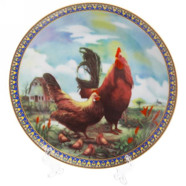 Тарелка керамическая 20см ″Петух с курицей″ купить оптом и в розницу