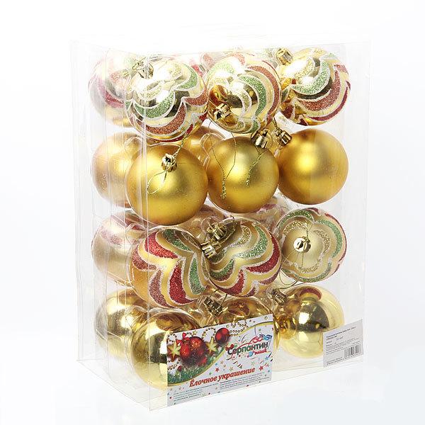 Новогодние шары ″Микс″ 6см (набор 24 шт.) купить оптом и в розницу