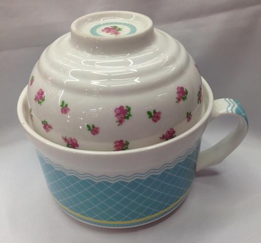 Бульонница керамическая 600мл с салатником 200мл ″Цветы″ купить оптом и в розницу