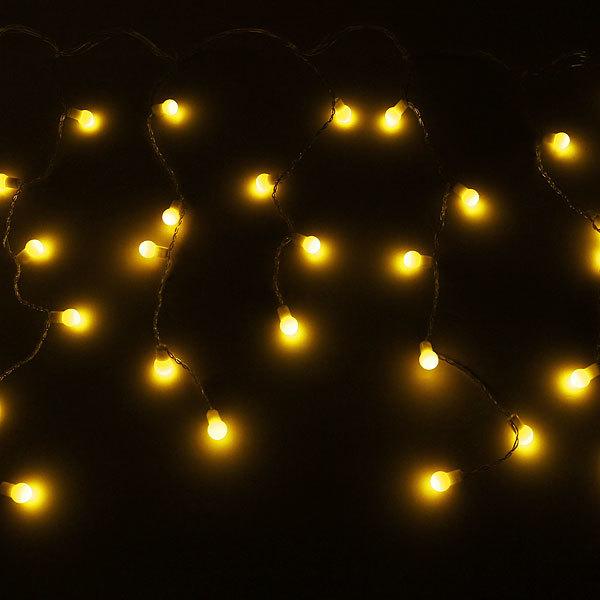 Бахрома светодиодная 3 х 0,3/0,4/0,5м, 96 ламп LED, Шар, Желтый,без реж,прозр.пров,с возм.соед купить оптом и в розницу