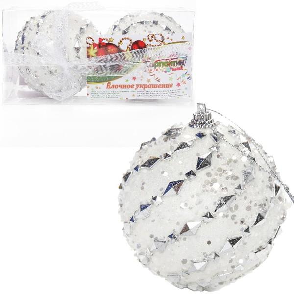 Новогодние шары ″Снежный дворец″ 8см (набор 2шт.) купить оптом и в розницу
