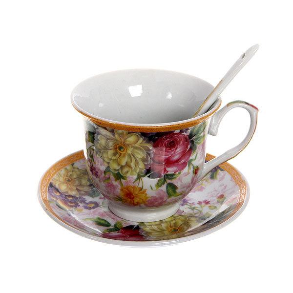 Чайный набор 4 предмета (2 кружки, 2блюдца+ложка) на металлической подставке 2 купить оптом и в розницу