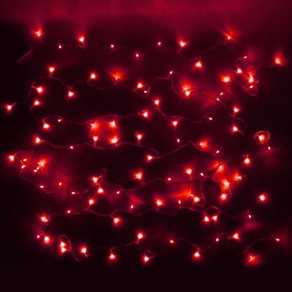 Гирлянда светодиодная 16,5м, 200 ламп LED, Красный, 8 реж, прозр.пров. купить оптом и в розницу