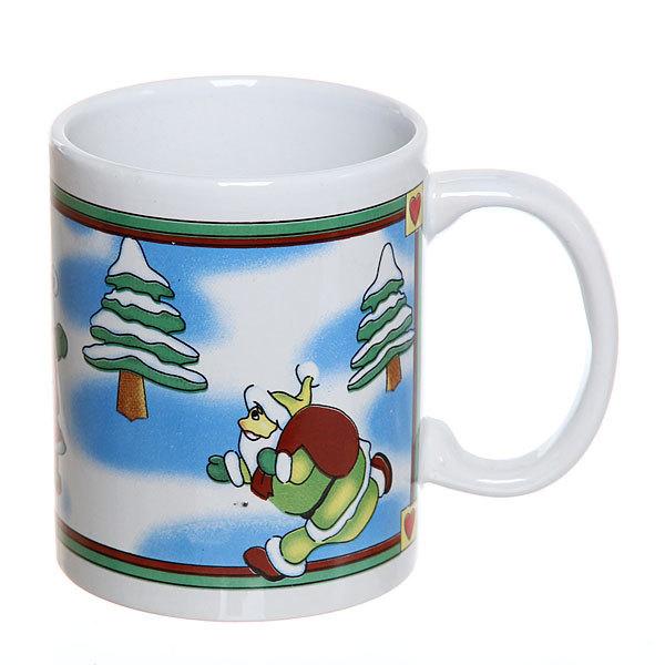 Кружка керамическая 300мл ″Дед Мороз бежит поздравить″ купить оптом и в розницу