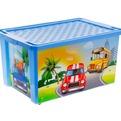 """Детский ящик для хранения игрушек """"X-BOX"""" City Cars 57л на колесах голубой небесный  *5 купить оптом и в розницу"""