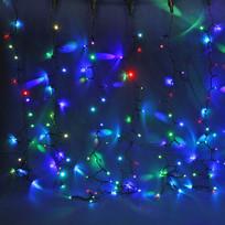 Занавес светодиодный уличный ш 2 * в 6м, 864 лампы LED, ″Дождь″, RGB(красный,зеленый,синий), 8 реж, черн.пров купить оптом и в розницу