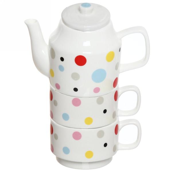 Набор чайный керамический 3 предмета (чайник500мл+2кружки 200мл) ″Круги″ купить оптом и в розницу