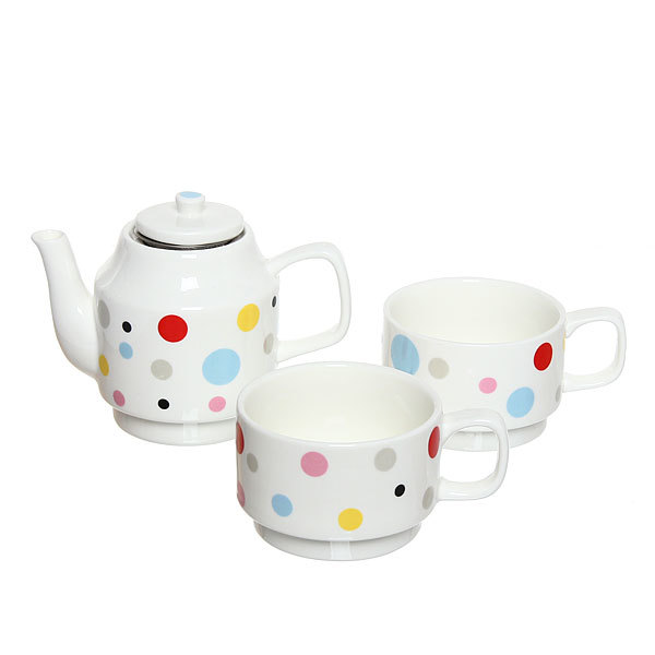 Набор чайный керамический 3 предмета (чайник500мл+2кружки 200мл) TFT036 купить оптом и в розницу