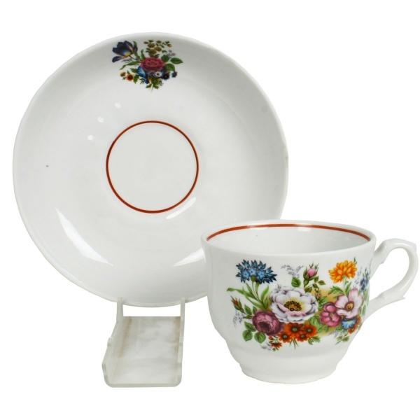Чайная пара 250мл ф. тюльпан БУКЕТ ЦВЕТОВ (1/12) купить оптом и в розницу