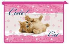 Папка д/тетр. 2отдел.на молнии А4 Милый котенок, пластик купить оптом и в розницу