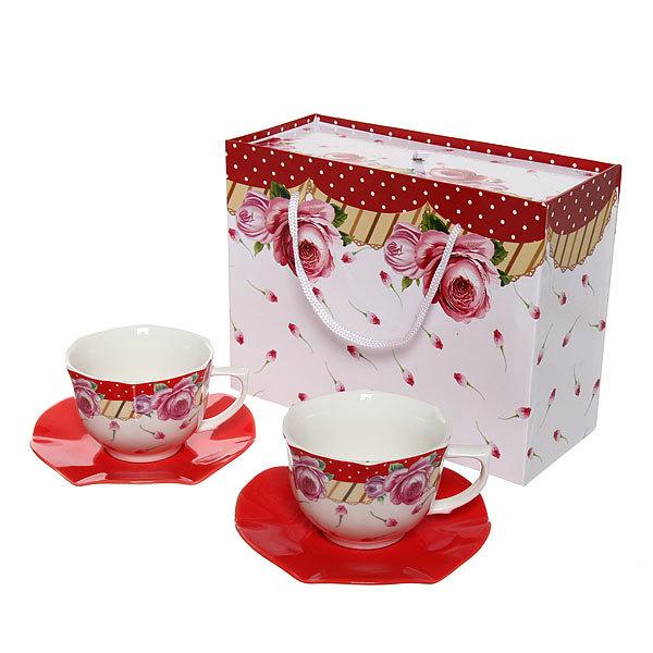 Чайный набор 4 предмета (2кружки 200мл+2блюдца ) ″Страсть″ купить оптом и в розницу