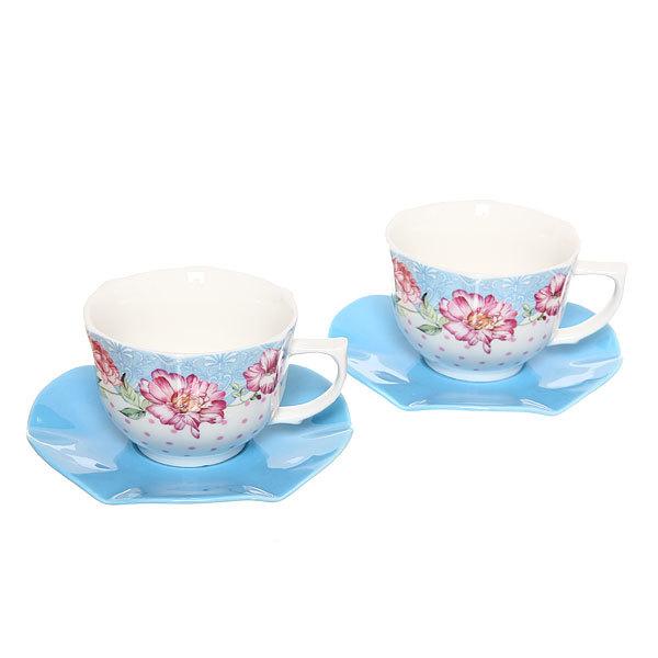 Чайный набор 4 предмета (2кружки 200мл+2блюдца ) ″Отдых″ купить оптом и в розницу