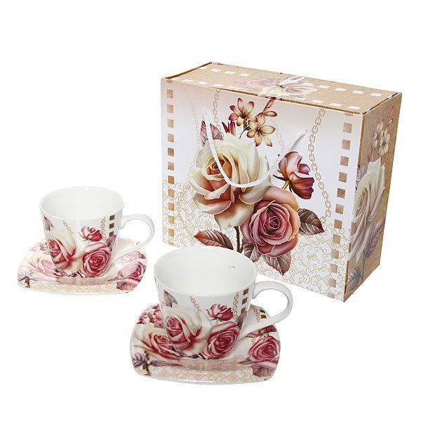 Чайный набор 4 предмета (2кружки 200мл+2блюдца ) К128-10 купить оптом и в розницу