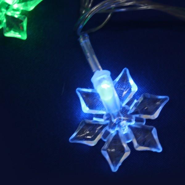 Гирлянда светодиодная 5м,30 лампы LED, Снежинка, RG/RB(красный,зеленый/красный,синий), авторежимы, прозр.пров., с возм.совмещ купить оптом и в розницу