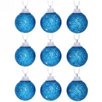 Новогодние шары 3 см (набор 9 шт) ″Посыпка из блёсток″, синий купить оптом и в розницу