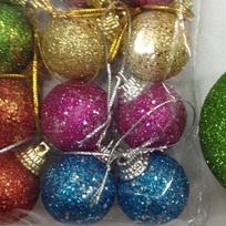 Новогодние шары 3 см (набор 9 шт) ″Посыпка из блёсток″, зеленый купить оптом и в розницу
