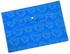 """Папка-конверт с кноп. А4 0,18мм Бюрократ пластик., непрозрач. глянц. с рисун. """"Листочки"""" синяя купить оптом и в розницу"""