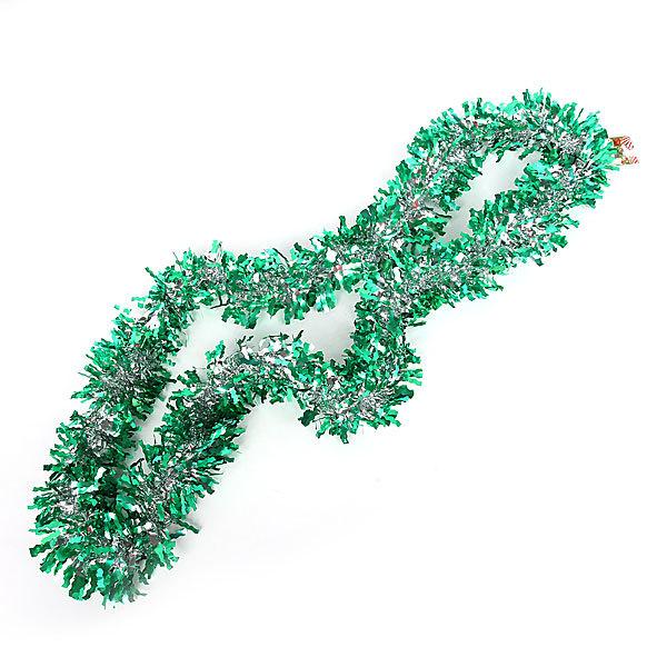 Мишура новогодняя 2 метра 10см ″Бахрома″ зеленый купить оптом и в розницу