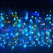 Занавес светодиодный уличный ш2*в1,5м, 276 лампы LED,″Дождь″,RGB(красный,зеленый,синий), 8реж, черн.пров купить оптом и в розницу