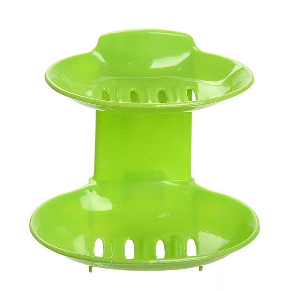 Мыльница на присоске, двойная, пластик 13,5х12,5 см зеленая купить оптом и в розницу
