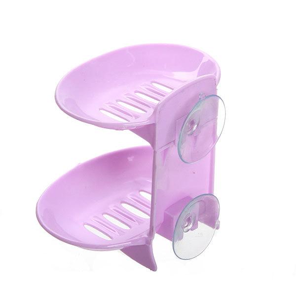 Мыльница на присоске, двойная, пластик 13,5х12,5 см фиолетовая купить оптом и в розницу