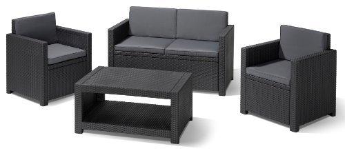 Набор мебели (2 стула, диван, стол) Modena антрацит/серый с подушками купить оптом и в розницу