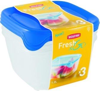 Набор контейнеров для СВЧ  3шт *0,8 л син Curver./прозрачн. / 6 шт купить оптом и в розницу