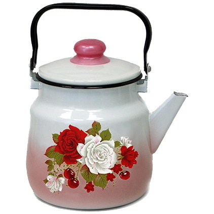 Чайник эмалированный 3,5л с рисунком цветы купить оптом и в розницу