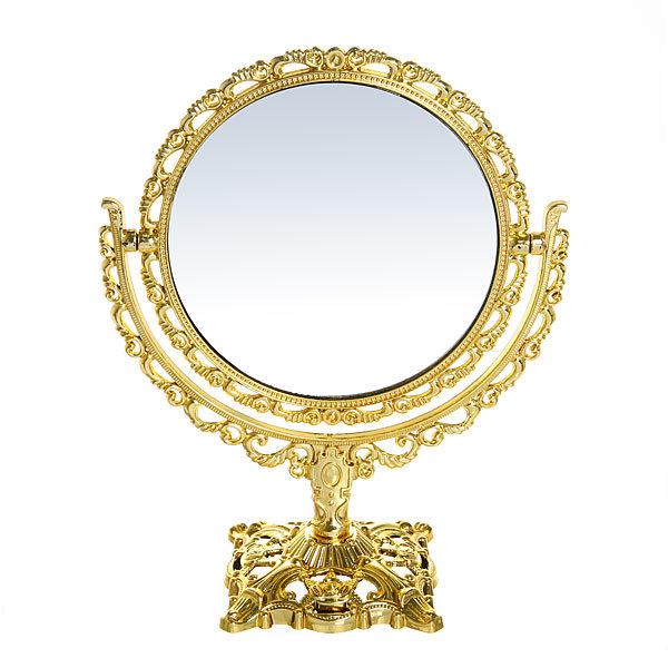 Зеркало настольное в пластиковой оправе ″Версаль - Круг″ цвет золото, двухстороннее 22см. купить оптом и в розницу