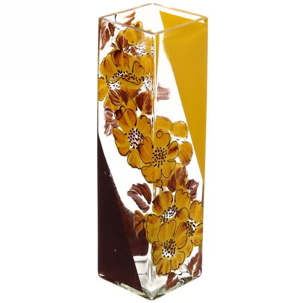 Ваза Квадрат стеклянная 30см прозрачная, ручная роспись рис. №12 купить оптом и в розницу