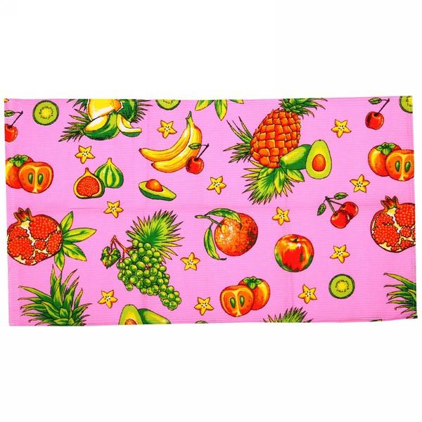 Полотенце вафельное 40*75см ″Тропический фрукт″ розовое купить оптом и в розницу