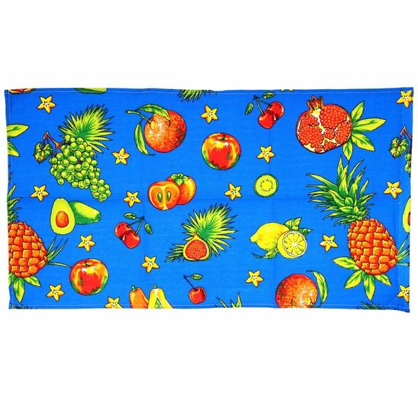 Полотенце вафельное 40*75см ″Тропический фрукт″ синиее купить оптом и в розницу