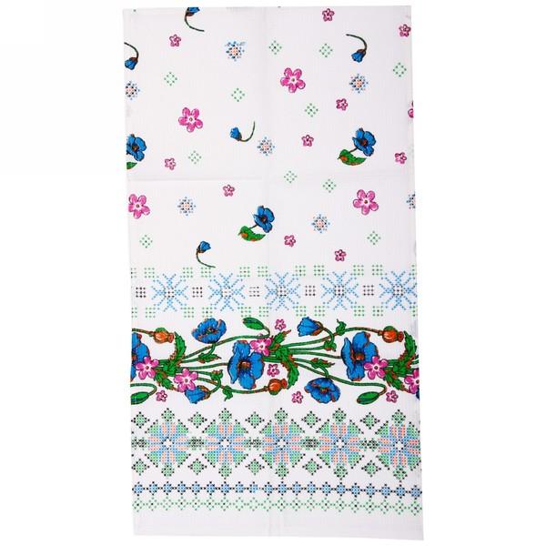 Полотенце вафельное 40*75см ″Вышивка″ синее купить оптом и в розницу