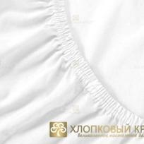 Простынь трикотажная на резинке 90х200х20 белая Хлопковый Край купить оптом и в розницу