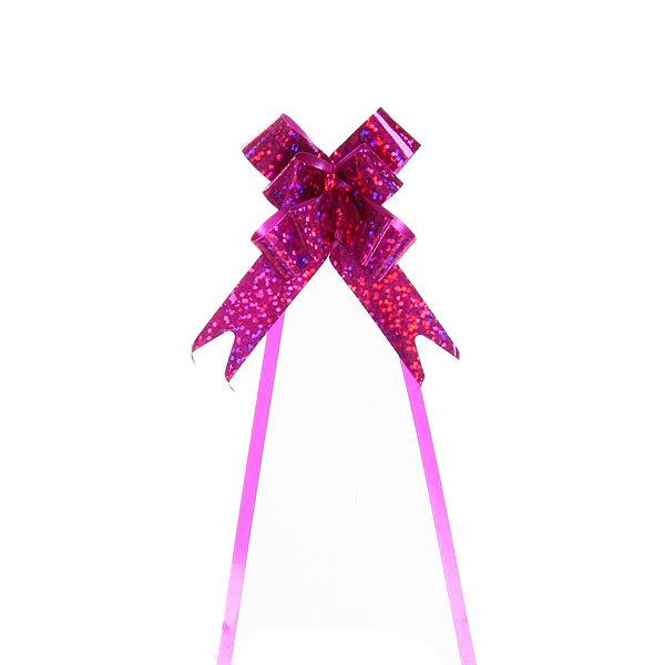 Бант-бабочка голограмма, розовый, набор 10 шт, 26 см купить оптом и в розницу