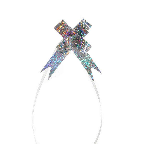 Бант-бабочка голограмма, серебристый, 26 см купить оптом и в розницу
