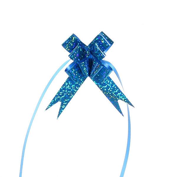 Бант-бабочка голограмма, синий, 26 см купить оптом и в розницу