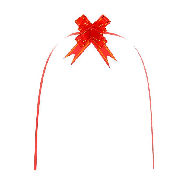Бант-бабочка красный с золотой полоской, набор 10 шт, 26 см купить оптом и в розницу