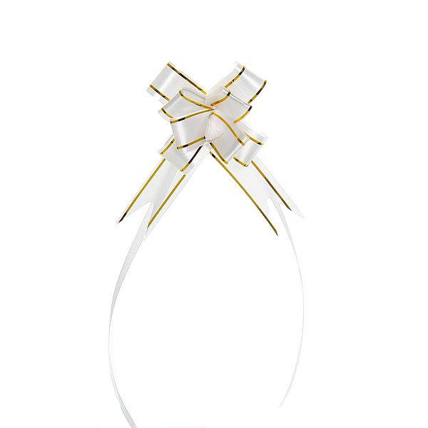 Бант-бабочка белый с золотой полоской 26 см купить оптом и в розницу