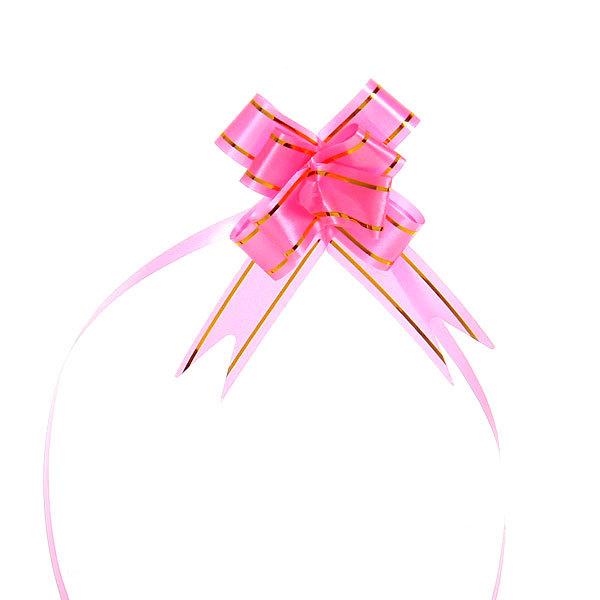 Бант-бабочка розовый с золотой полоской, 26 см купить оптом и в розницу